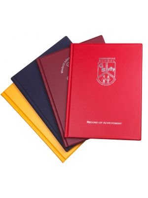 school folder record of achievement printed in school colours