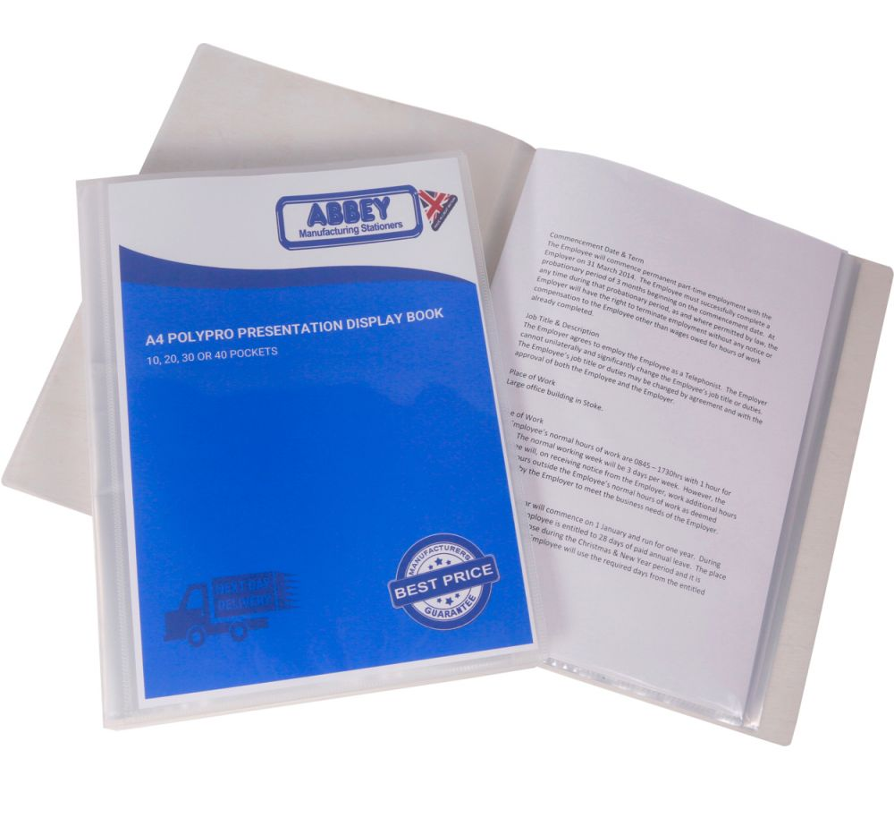 A4 Display Book Flexible Clear 10 20 30 Or 40 Pockets